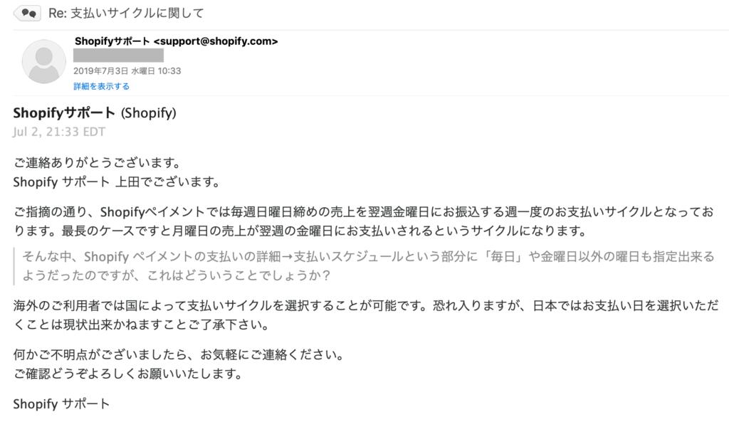 Shopifyペイメントの売上入金日を実際に確認した。